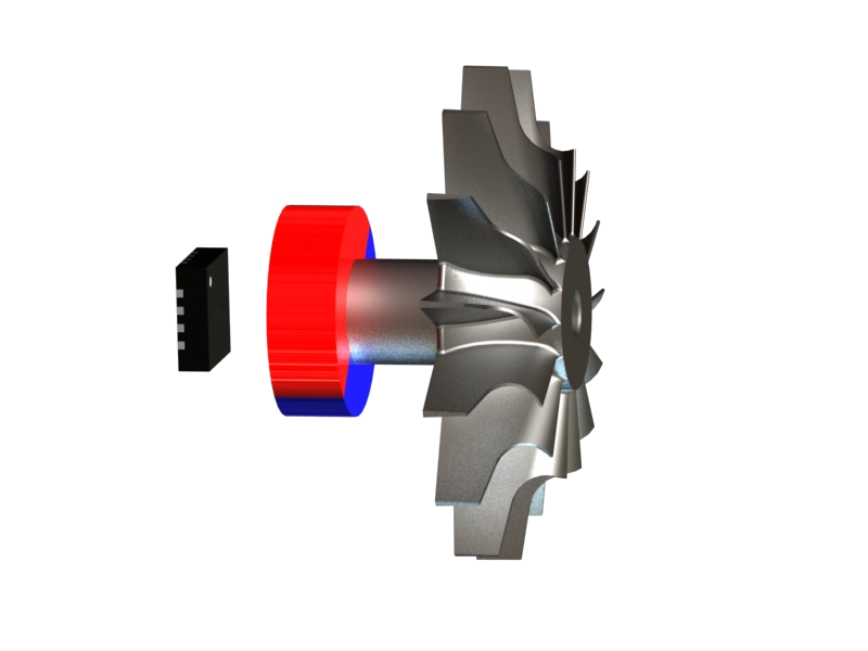 Example of magnetic setup with the magnet in end-of-shaft position